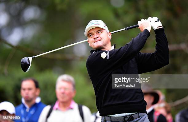 Paul Lawrie of Scotland takes his tee shot on hole 2 on day one of the Aberdeen Asset Management Paul Lawrie Matchplay at Archerfield Links Golf...