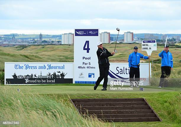 Paul Lawrie of Scotland watches his drive from the picturesque elevated 4th tee during the first day of the Saltire Energy Paul Lawrie Matchplay at...