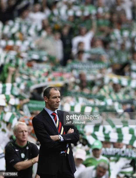 Paul le Guen coach of Rangers looks from the dug out during the Scottish Premier League match between Celtic and Rangers at Celtic Park on September...