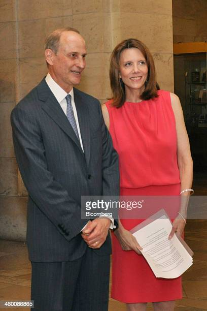 Paul LeClerc president of New York Public Library left and Catherine Marron chairman of New York Public Library attend a dinner at the New York...