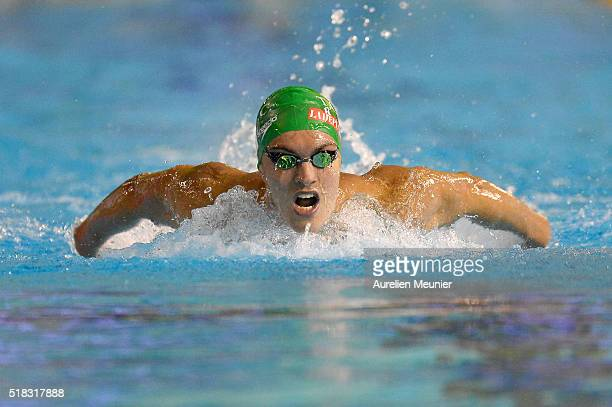 Paul Lemaire of France competes in the 200m Men's butterfly on day three of the French National Swimming Championships on March 31 2016 in...