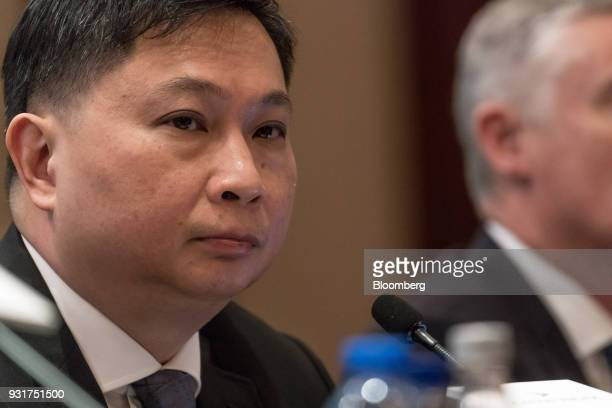 Paul Loo chief customer and commercial officer of Cathay Pacific Airways Ltd attends a news conference in Hong Kong China on Wednesday March 14 2018...