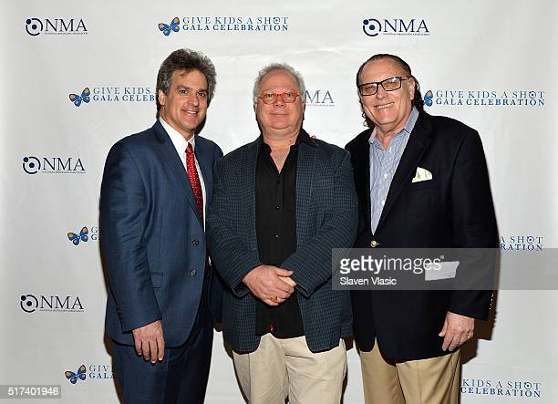 Paul Lountzis Gary Springer and Errol Rappaport attend the preshow reception for annual 'Give Kids a Shot Gala Celebration' Broadway's support for...