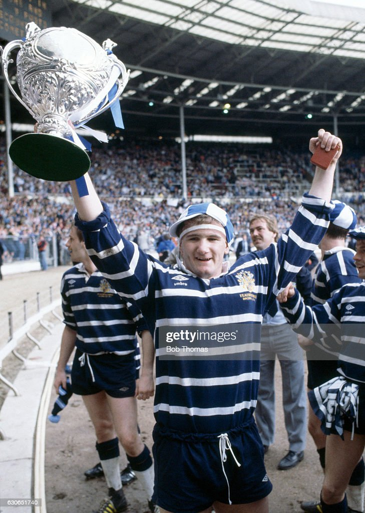 Paul Lyman of Featherstone Rovers with the trophy following the State Express Rugby League Challenge Cup Final between Featherstone Rovers and Hull at Wembley Stadium in London on 7th May 1983. The Rovers won 14-12.
