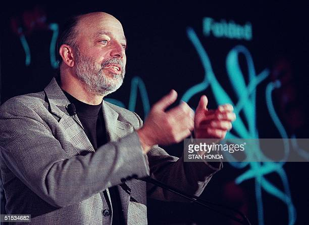 Paul M. Horn, senior vice president of IBM research, announces at a press conference 06 December 1999 in New York a five-year, 100 million USD...