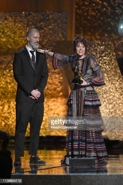 Paul Mabury and Lauren Daigle accept Best Contemporary Christian Music Performance/Song for 'You Say' at the premiere ceremony during the 61st annual...