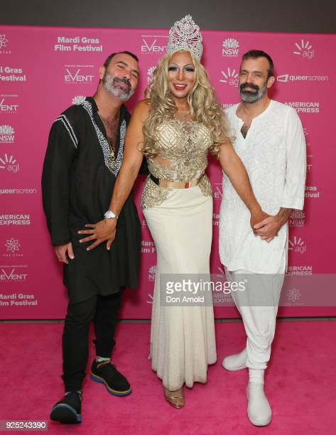 Paul Mac Josie Baker and Johnny Seymour attend the Black Divaz world premiere at Event Cinemas George Street on February 28 2018 in Sydney Australia...