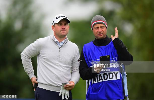 Paul Maddy of England waits to play his first shot on the 10th tee during the Porsche European Open - Day One at Green Eagle Golf Course on July 27,...