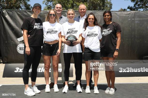 Paul Maley Ned Coten Jenna O'Hea Rebecca Cole Madeline Garrick Amelia Todhunter and WNBL players pose for a portrait during a NBL media opportunity...