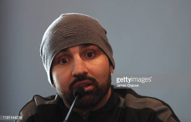 Paul Malignaggi speaks during a press conference ahead of their IBO World Super Middleweight Title fight at the Intercontinental Hotel on February 21...