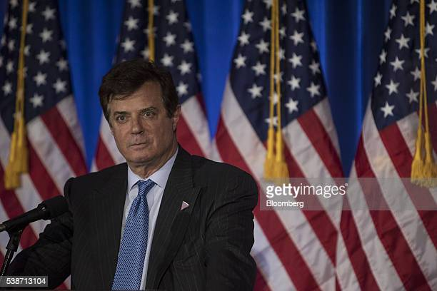 Paul Manafort a Trump campaign worker stands on stage before Donald Trump presumptive Republican presidential nominee speaks during a primary night...