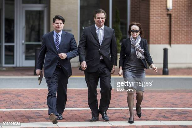 Paul Manafort former campaign manager for Donald Trump center arrives at the District Courthouse in Alexandria Virginia US on Thursday March 8 2018...