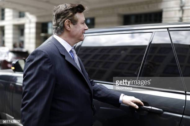 Paul Manafort former campaign manager for Donald Trump exits federal court in Washington DC US on Wednesday May 23 2018 Lawyers forManafortaccused...