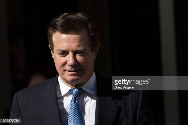 Paul Manafort former campaign manager for Donald Trump exits the E Barrett Prettyman Federal Courthouse February 28 2018 in Washington DC This is...