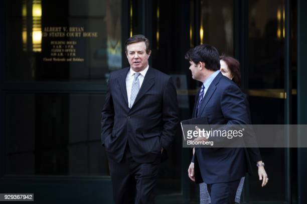 Paul Manafort former campaign manager for Donald Trump left exits the District Courthouse in Alexandria Virginia US on Thursday March 8 2018 Manafort...