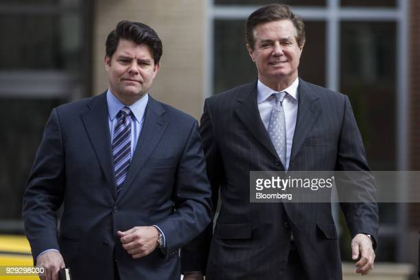Paul Manafort former campaign manager for Donald Trump right arrives at the District Courthouse in Alexandria Virginia US on Thursday March 8 2018...