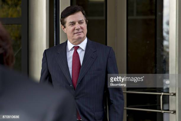 Paul Manafort former campaign manager for Donald Trump walks out of the US Courthouse after a bond hearing in Washington DC US on Monday Nov 6 2017...