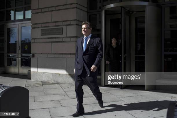 Paul Manafort former campaign manager for Donald Trump walks out of the US Courthouse in Washington DC US on Washington DC US on Wednesday Feb 28...
