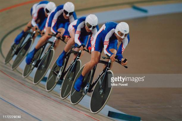 Paul Manning, Chris Newton, Bryan Steel and Bradley Wiggins cycling to third place and the bronzemedal in the Men's Team Pursuit on 18th September...