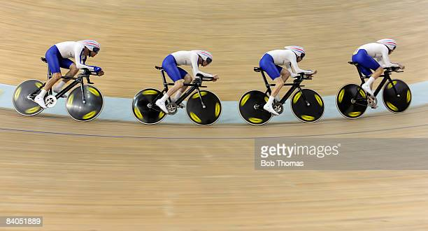 Paul Manning Ed Clancy Geraint Thomas and Bradley Wiggins of Great Britain compete in the Men's Team Pursuit Finals at the Laoshan Velodrome on Day...