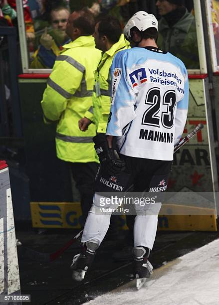 Paul Manning of Hamburg Freezers leaves the ice after being sent out for a foul on Daniel Kreutzer of DEG Metro Stars during the DEL Bundesliga Play...