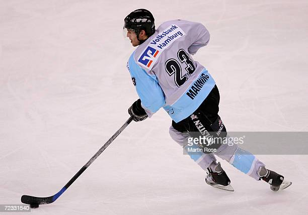 Paul Manning of Hamburg with the puck during the DEL Bundesliga game between Hamburg Freezers and ERC Ingolstadt at the Color Line Arena on October...