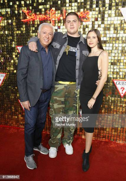 Paul Marciano Nicolai Marciano and Ella Marciano at the Guess Spring 2018 Campaign Reveal starring Jennifer Lopez on January 31 2018 in Los Angeles...