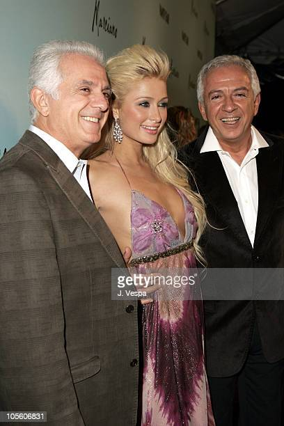 Paul Marciano Paris Hilton and Maurice Marciano during The Launch of Marciano Hosted by Vanity Fair at Dolce in Los Angeles California United States