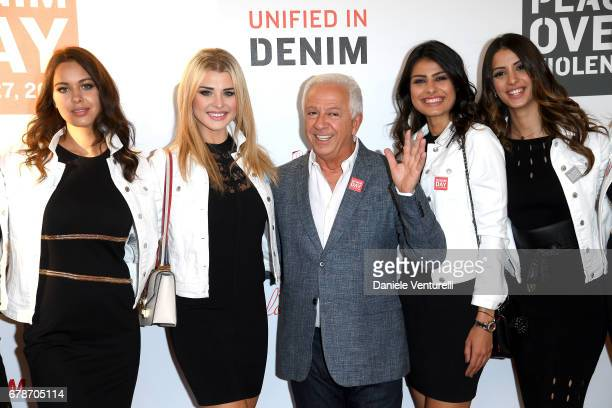 Paul Marciano poses with the models attend the Guess Foundation Denim Day 2017 at Palazzo Barberini on May 4 2017 in Rome Italy