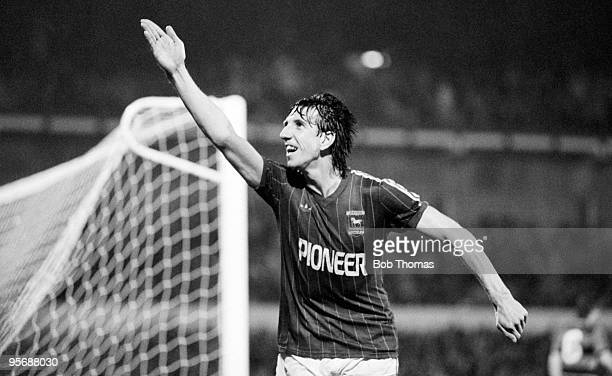 Paul Mariner celebrates after scoring Ipswich Town's 2nd goal against Queens Park Rangers during their Football League Milk Cup 3rd round football...