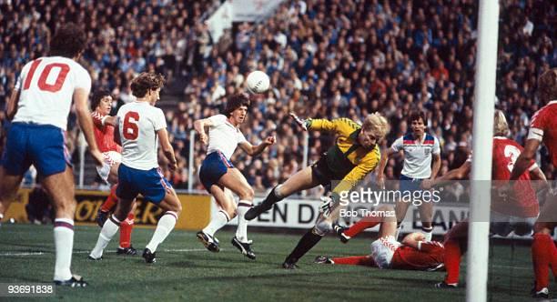 Paul Mariner of England has his shot saved by Danish goalkeeper Troels Rasmussen during the Denmark v England European Championship Qualifying match...