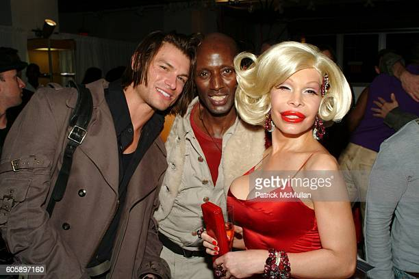 Paul Marron Rodney Walker and Amanda Lepore attend AMANDA LEPORE DOLL cocktail party at Jeffrey on April 11 2006 in New York City