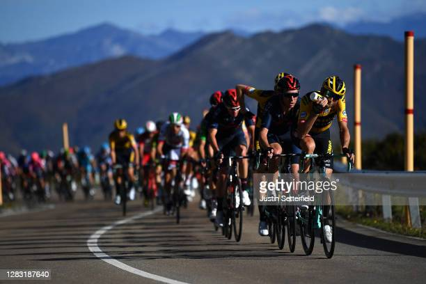 Paul Martens of Germany and Team Jumbo - Visma / Feeding / Cameron Wurf of Australia and Team INEOS - Grenadiers / Peloton / during the 75th Tour of...