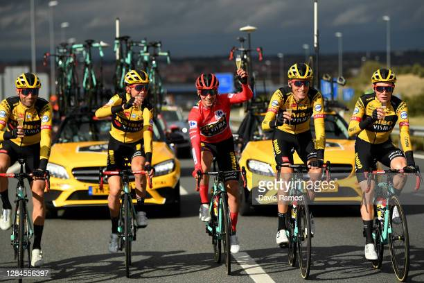 Paul Martens of Germany, Sepp Kuss of The United States, Primoz Roglic of Slovenia Red Leader Jersey, Robert Gesink of The Netherlands and Jonas...