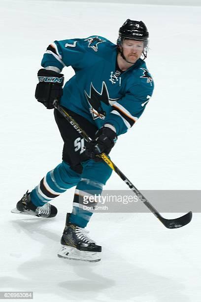 Paul Martin of the San Jose Sharks skates during a NHL game against the Anaheim Ducks at SAP Center at San Jose on November 26, 2016 in San Jose,...