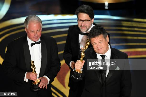 Paul Massey John Casali and Tim Cavagin accept the Sound Mixing award for 'Bohemian Rhapsody' onstage during the 91st Annual Academy Awards at Dolby...