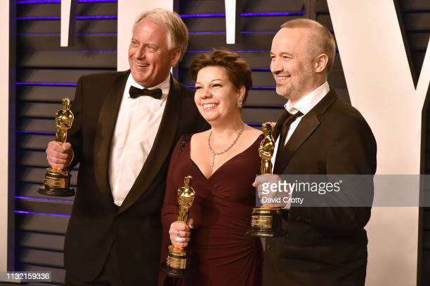 Paul Massey Nina Hartstone and John Warhurst attend the 2019 Vanity Fair Oscar Party at Wallis Annenberg Center for the Performing Arts on February...