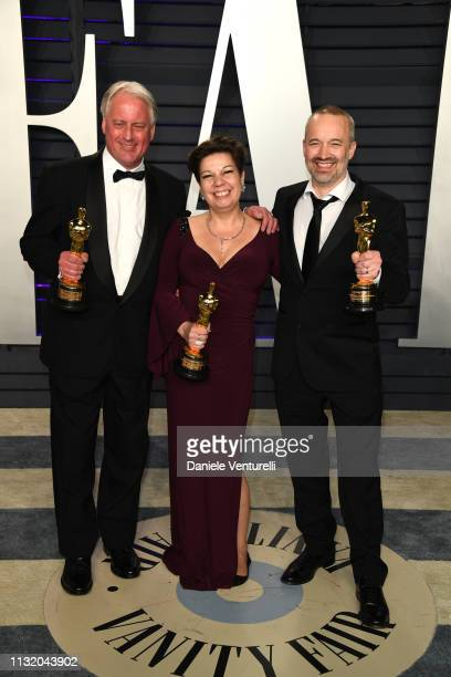 Paul Massey Nina Hartstone and John Warhurst qinners of Best Sound Mixing award for 'Bohemian Rhapsody' attends2019 Vanity Fair Oscar Party Hosted By...