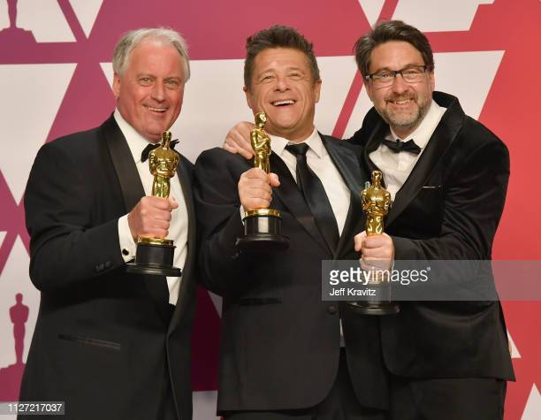 Paul Massey Tim Cavagin and John Casali pose with the Best Sound Mixing award for Bohemian Rhapsody in the press room during at Hollywood and...