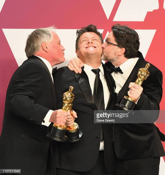 Paul Massey Tim Cavagin and John Casali winners Best Sound Mixing award for 'Bohemian Rhapsody' pose in the press room during at Hollywood and...