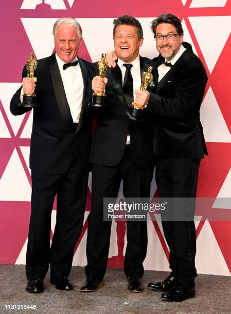 Paul Massey Tim Cavagin and John Casali winners of Best Sound Mixing for Bohemian Rhapsody pose in the press room during the 91st Annual Academy...
