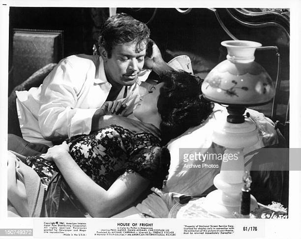 Paul Massie in bed with Dawn Addams in a scene from the film 'The Two Faces Of Dr Jekyll' 1961