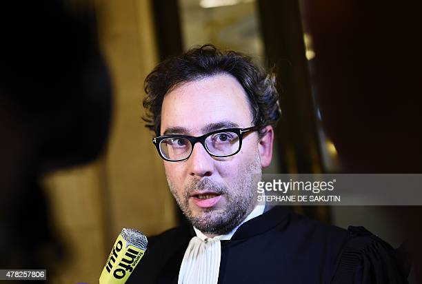 Paul Mathonnet lawyer of the Le Roux Family speaks to the press on June 24 2015 at the courthouse of Paris during a hearing in the appeal of Maurice...
