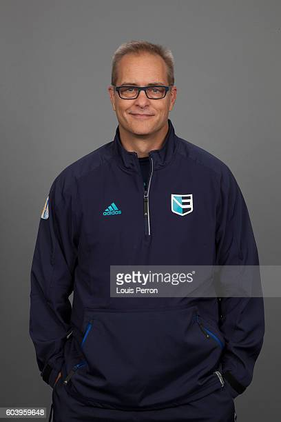 Paul Maurice, Assistant Coach of Team Europe, poses for his official World Cup of Hockey head shot at the Videotron Center on September 6, 2016 in...