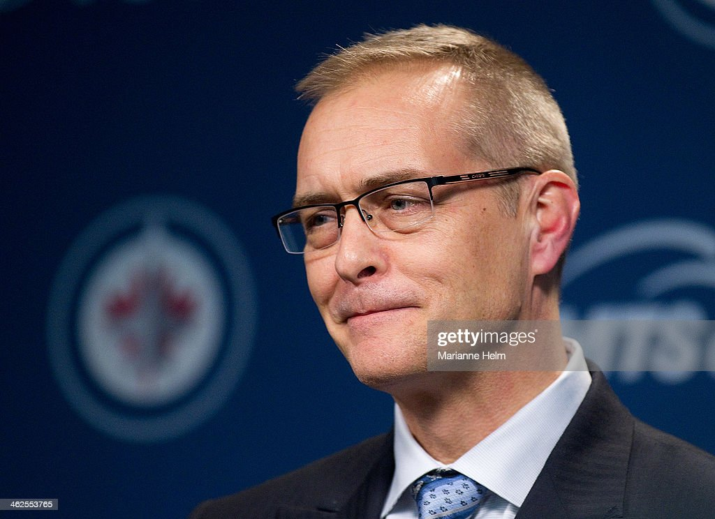 Paul Maurice speaks to the media after his first game as head coach of the Winnipeg Jets at the MTS Centre on January 13, 2014 in Winnipeg, Manitoba, Canada. The Winnipeg Jets defeated the Phoenix Coyotes 5-1.