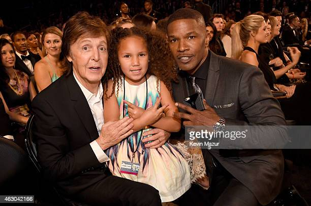 Paul Mcartney Annalise Bishop and actor Jamie Foxx attend The 57th Annual GRAMMY Awards at STAPLES Center on February 8 2015 in Los Angeles California