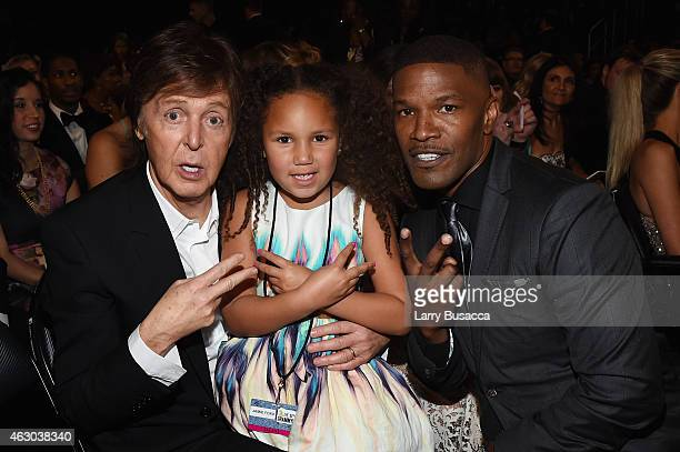 Paul Mcartney Annalise Bishop and actor Jamie Foxx attends The 57th Annual GRAMMY Awards at the STAPLES Center on February 8 2015 in Los Angeles...