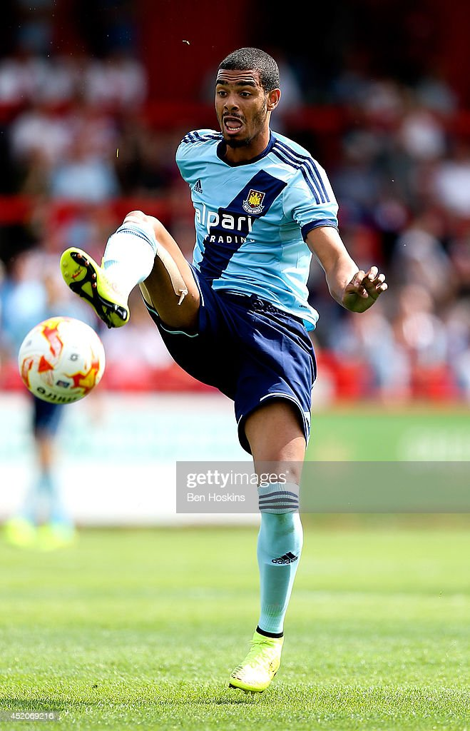 Paul McCallum of West Ham in action during the Pre Season Friendly match between Stevenage and West Ham United at The Lamex Stadium on July 12, 2014 in Stevenage, England.