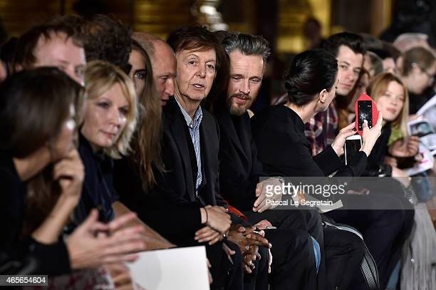 Paul McCartney and Alasdhair Willis attend the Stella McCartney show as part of the Paris Fashion Week Womenswear Fall/Winter 2015/2016 on March 9...