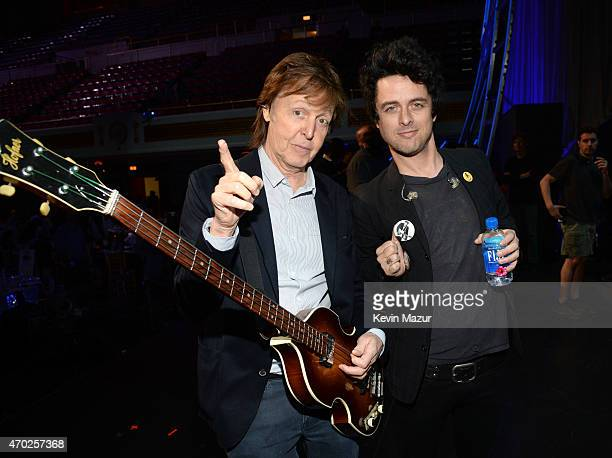 Paul McCartney and Billie Joe Armstrong attend the 30th Annual Rock And Roll Hall Of Fame Induction Ceremony at Public Hall on April 18 2015 in...